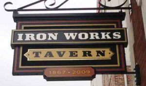 Iron Works Tavern Custom Hanging Sign