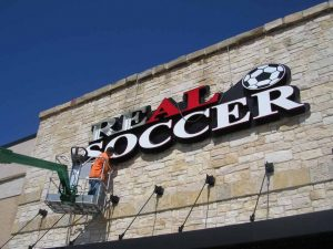 Real Soccer Channel Letter Sign Installation